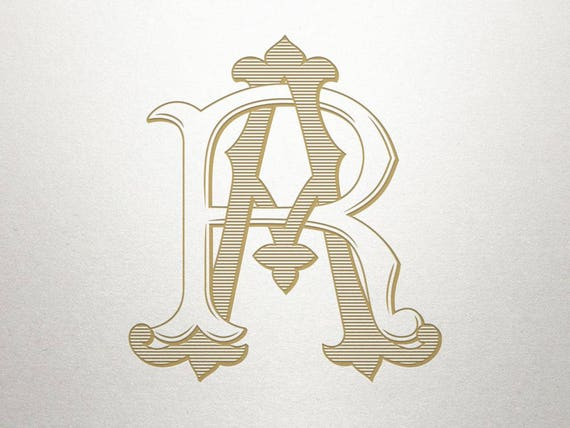 Interlocking Monogram Design Ar Ra Interlocking Monogram Etsy