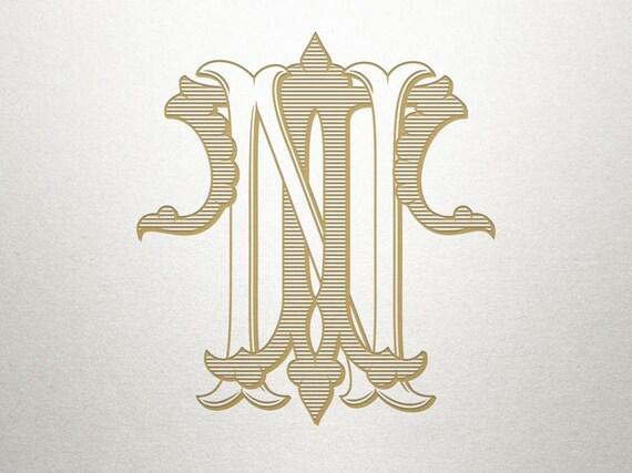 Vintage Interlocking Letters Nt Tn Interlocking Letters Etsy