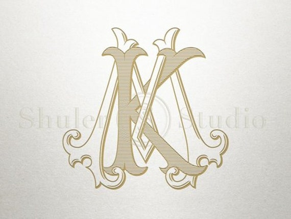 Vintage Digital Monogram Km Mk Digital Monogram Etsy