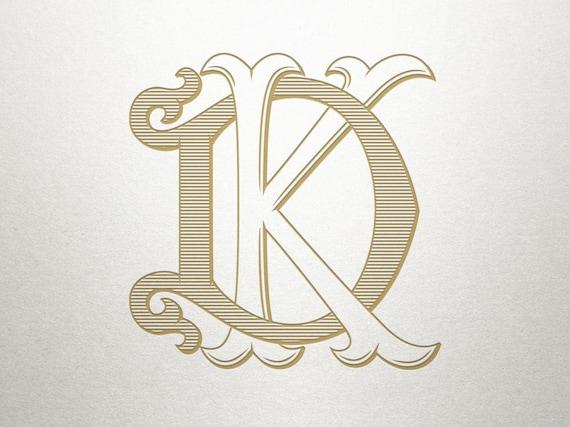 Interlocking Monogram Font Dk Kd Monogram Font Etsy