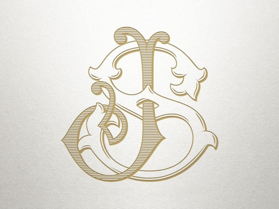 Interlocking Monogram Design Js Sj Monogram Design Etsy