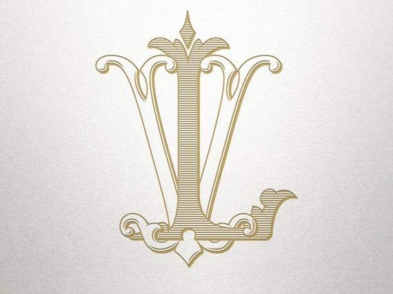 Wedding Initials Logo Lv Vl Wedding Initials Vintage