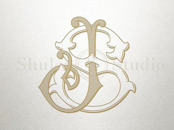 Interlocking Monogram Design Js Sj Monogram Design Etsy