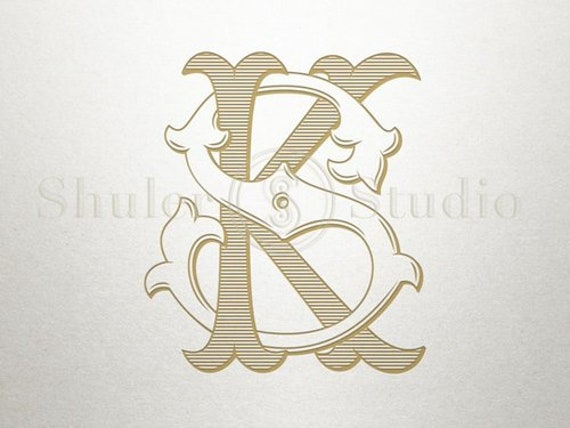 Antique Monogram Design Ks Sk Antique Monogram Digital Etsy