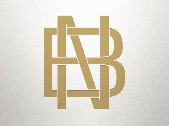 Interlocking Logo Design Bn Nb Interlocking Logo Digital Etsy