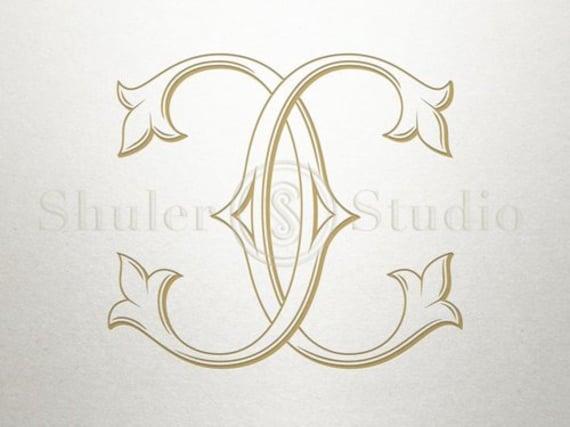 Interlocking Wedding Monogram Cc Interlocking Monogram Etsy
