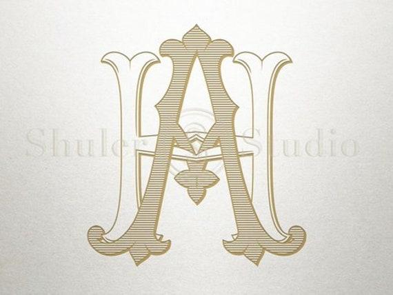 Wedding Monogram Logo Ah Ha Monogram Logo Digital Etsy