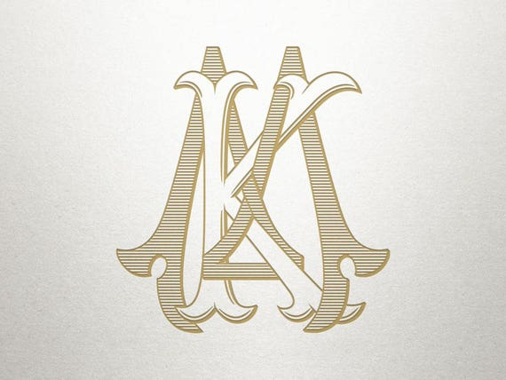 Interlocking Wedding Monogram Km Mk Wedding Monogram Etsy