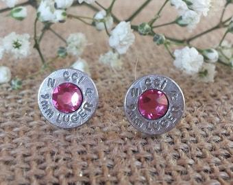 Rose 9mm CCI Bullet Stud Earrings