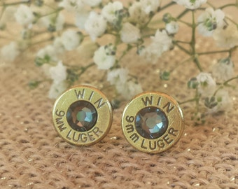 Silver Nights 9mm Winchester Bullet Stud Earrings