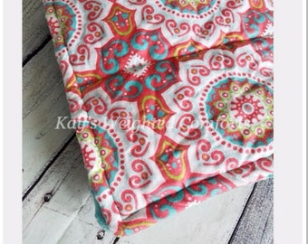 Small child relaxing custom medallion flannel minky aqua blue fabric comforting weighted blanket