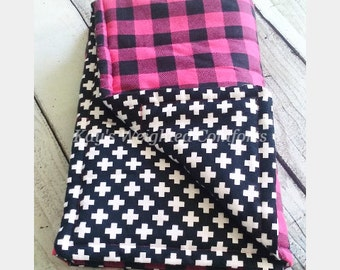Child custom small plaid pink flannel print black and white flannel print comforting weighted blanket