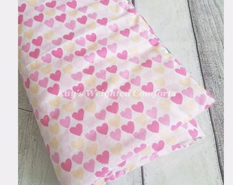 Small child relaxing custom adorable fun sweetheart pink flannel fabric with preppy flannel fabric comforting weighted blanket