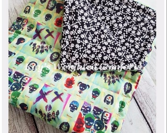Small child relaxing custom movie character cartoon heathen squad cotton with skulls fabric comforting weighted blanket