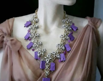 Necklace with papier-mâché and amethysts-necklace with papermache and amethyst