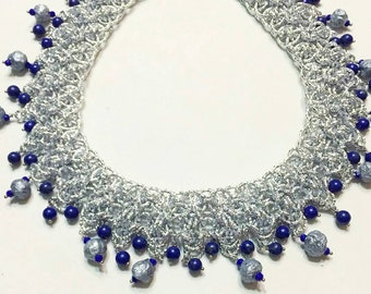 Amazing necklace with lapis lazuli and papier-mâché-Awesome choker with Lazuli and papermache beads