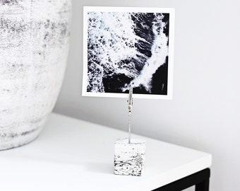 Hand Made Concrete Photo Holder (Wedding table number place card holder) - White concrete marble design (1) - frame, photo holder, bedroom