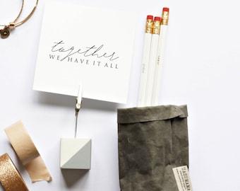 Hand Made Concrete Photo Holder (Wedding table number place card holder) - White concrete Soft Grey design (1) - frame, bedroom, home decor