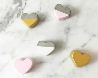 Hand Made Personalized Concrete Love Hearts - dipped with your choice of colour - Bedroom, home, nursery decor, concrete, letters, children