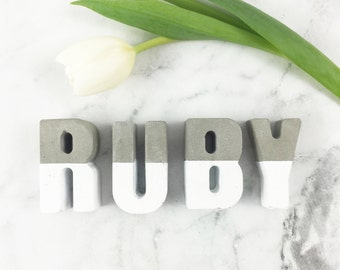 Hand Made Personalized Concrete Letters - Concrete dipped with white - Bedroom, home, nursery decor, baby name, wedding decor, concrete
