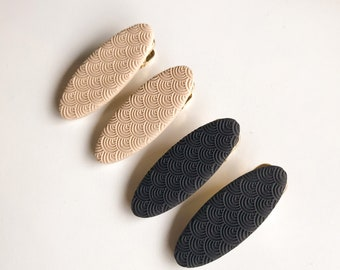 Handmade Polymer Clay Barrettes  Rainbow Textured  Versatile 2pcs
