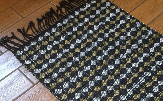 Bohemian rug - boho decor - throw rug - washable rug - black rug - kitchen  rug - bathroom rug -woven rug - gift for bridal shower