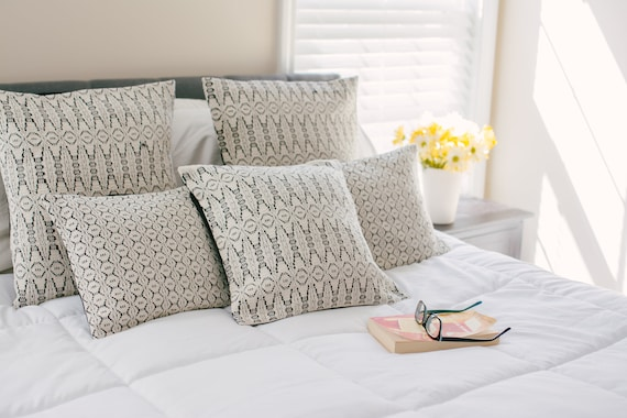 White Bedding Black Border Pillows