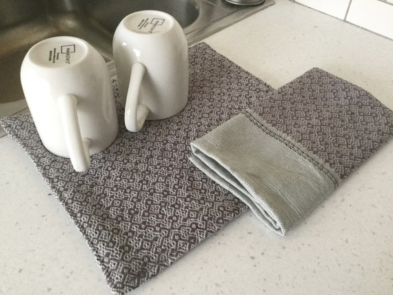 Purple kitchen dish mat - dish drying mat - handwoven dish towel - gift for  newlyweds