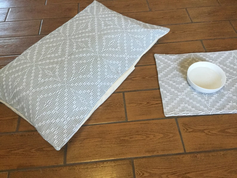 gift for dog lovers dog pillow bed farmhouse decor Custom pet gift washable dog bed Dog food placemat dog bowl mat