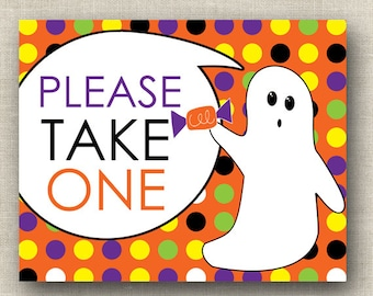 please take one printable halloween printable sign halloween candy bowl sign print your own ghost halloween party instant download