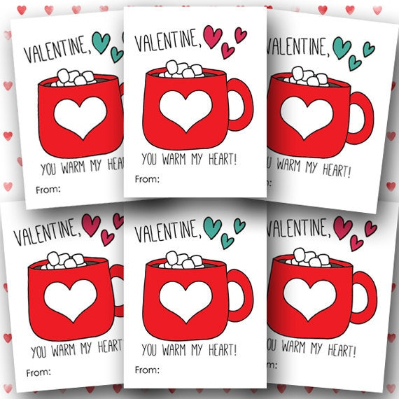 picture about Kids Valentines Printable identify PRINTABLE little ones Valentines, warm chocolate Valentines, scorching cocoa Valentines printable, by yourself incredibly hot my middle, children valentine, Quick Down load