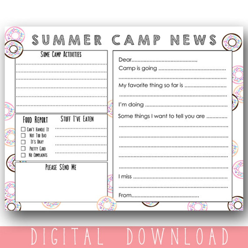 photograph relating to Stationary Printable named Camp Printable Stationary / Printable Summer time Camp Stationary / Printable Camp Letter / Donut Camp Stationery Do it yourself / Prompt Down load