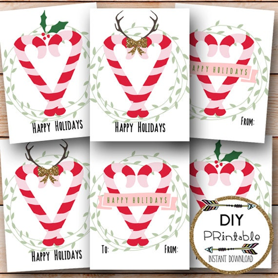 graphic regarding Printable Candy Cane known as Printable Sweet Cane Tags / Pleased Holiday seasons Tags Printable / Printable Delighted Holiday seasons Present Tags / Sweet Cane / Xmas / Immediate Down load