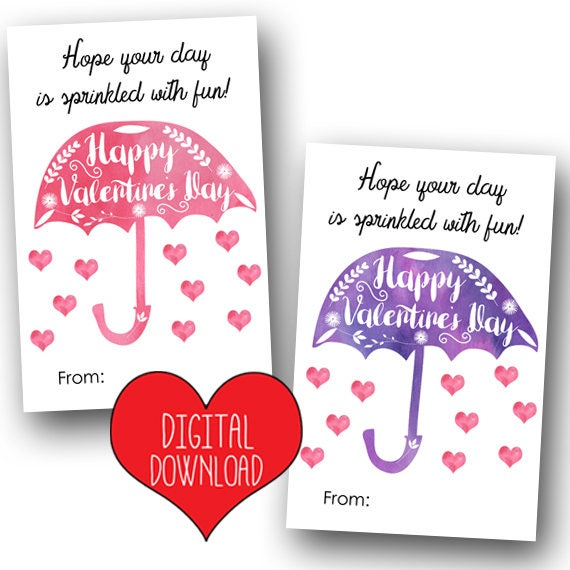Umbrella Printable Valentines @michellepaigeblogs.com