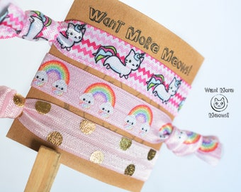 Cat Hair Ties Gifts Under 5 Stocking Stuffer Party Favor Birthday Wedding Lover Gift Caticorn Unicorn