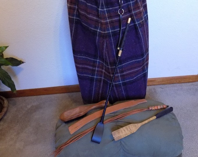 Mature: BDSM Tartan Skirt, Spanking Flogger, Riding Crop, Paddle, Tawse, Hairbrush, Dungeon, Punishment, Adult Spanking Toys, Disciplinarian