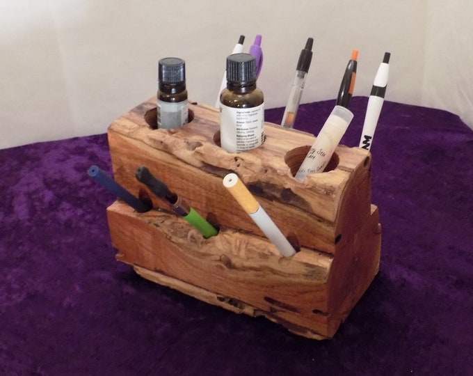 Wood Desk Caddy for Vape pens, Cartridges, E-Cigs, E-Cigarettes, Pens, Lip Balm, Medical Marijuana, Tank Storage, Makeup or whatever else.