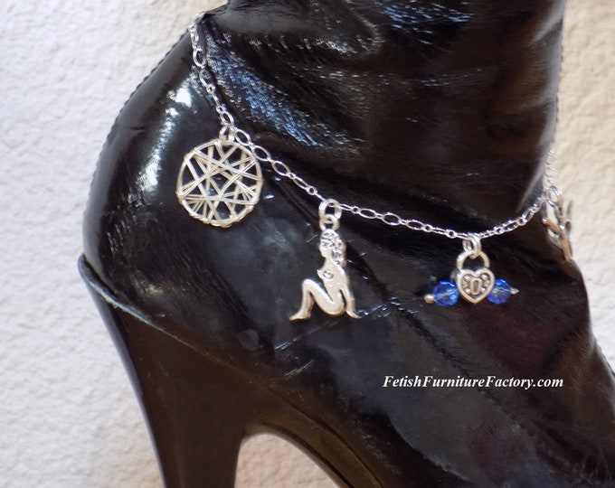 Mature: Hotwife Anklet, Hotwife Charms, BDSM Jewelry, Cuckold, Sex Toys, Fetish, Kinky Jewelry, FemDom, Dungeon, Body Jewelry, Swingers, Sex