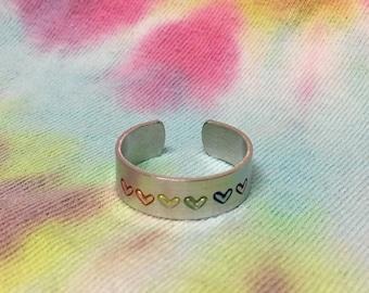 Rainbow Hearts Ring, Gay Pride, LGBT Pride, Rainbow Jewelry