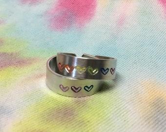 Custom Pride Flag Ring, Bisexual, Pansexual, Asexual, Trans, Gay, Lesbian, Genderfluid