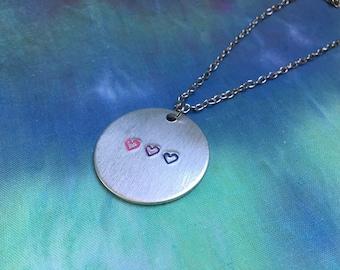1.25in Bisexual Pride Heart Necklace - Bisexual Jewelry - Bisexual Necklace - Bi Jewelry - Bi Necklace - Bi Pride Flag - Bisexual Pride Flag