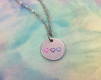 3/4in Bisexual Pride Heart Necklace - Bisexual Jewelry - Bisexual Necklace - Bi Jewelry - Bi Pride Flag - Bisexual Pride Flag