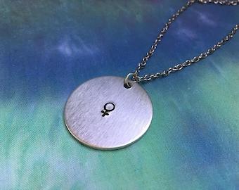 Female Symbol Necklace - Feminist Necklace - Venus Symbol Necklace - Feminist Jewelry - Female Symbol - Female Warrior - Venus Necklace