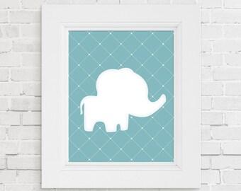 Nursery animal print. Baby animal art print. Blue baby elephant nursery decor. Nursery art. Baby shower gift. New baby gift. Kids room decor