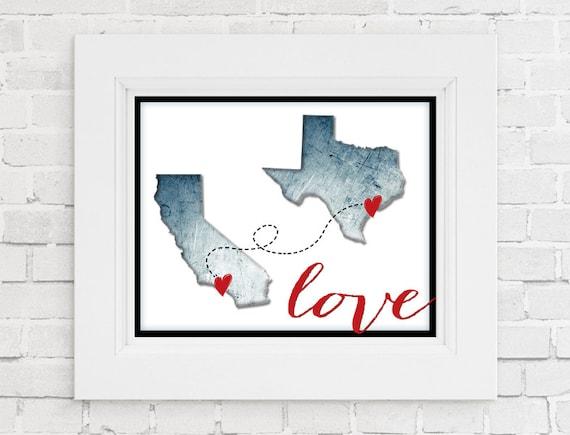 California Texas Love Print State Prints Home Wall Art Etsy