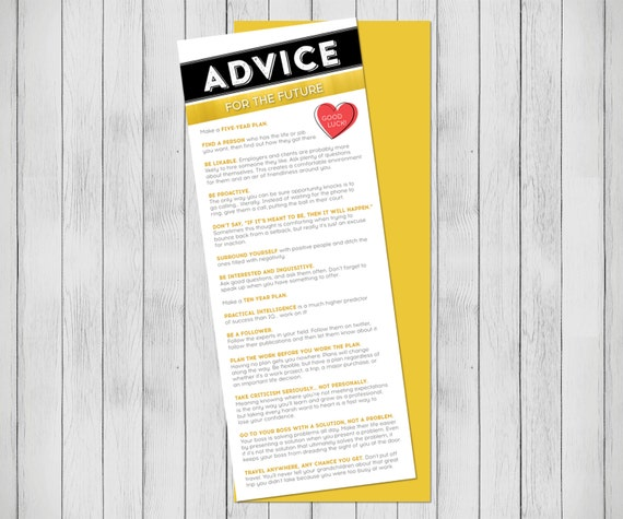 Graduation gift Advice for the future card College gift for teen. Printable graduation card