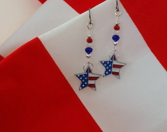 Patriotic Earrings American Flag Earrings Red White and Blue Earrings Patriotic Jewelry 4th of July Earrings Labor Day Veterans Jewelry