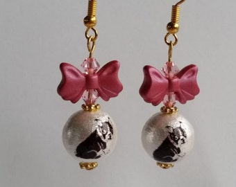 French Bulldog Earrings Pet Jewelry Niobium Earrings Bulldog Gift Dog Lover Gift Dog Earrings French Bulldog Jewelry Cotton Pearl Earrings