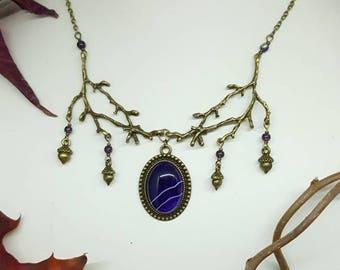 Purple Forest necklace - stone gems - purple agate - branch - forest - Elf - oak - korrigan - Bohemian - pantone 2018 - Valentine's day