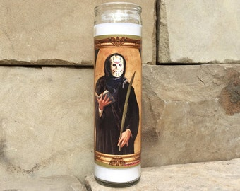 Friday the 13th Jason Voorhees Celebrity Prayer Candle - Horror Decor - Humor - Parody Art - 7 Day Candle